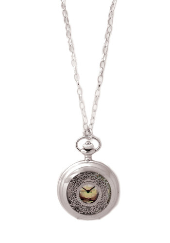 Old and New Pocket Watch Necklace - Silver, Black, White, Gold, Casual, Vintage Inspired, Best Seller, Steampunk, Graduation, 60s, Silver