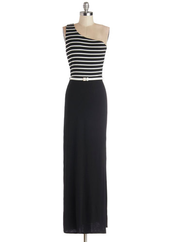 Vegas Vacation Dress - Jersey, Knit, Black, White, Stripes, Belted, Casual, Maxi, One Shoulder, Good, Summer, Long
