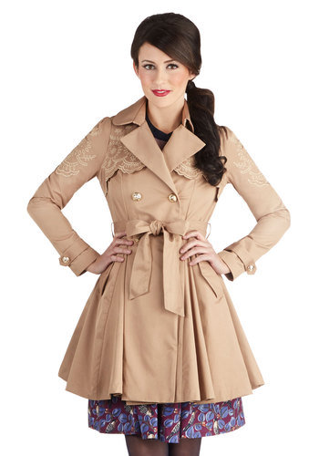 Junior Stylist Coat - Woven, Tan, Solid, Buttons, Embroidery, Scallops, Belted, Double Breasted, Collared, Spring, 2, Long