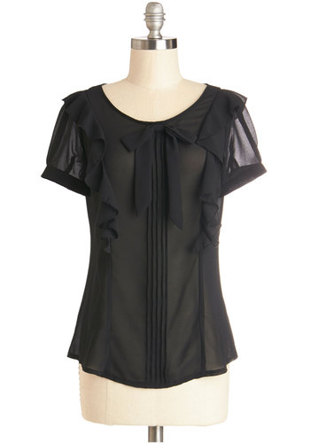 Voilà-La Top - Sheer, Woven, Mid-length, Chiffon, Black, Solid, Bows, Buttons, Pleats, Ruffles, Party, Film Noir, French / Victorian, Short Sleeves, Better, Scoop, Black, Short Sleeve