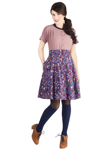 Cheerful Chirp Skirt by Emily and Fin - Woven, Mid-length, Purple, Print with Animals, Buttons, Pleats, Pockets, Casual, Purple, Ballerina / Tutu