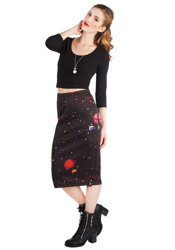 Social Meteor Skirt - Knit, Long, Black, Novelty Print, Cosmic, Pencil, Black