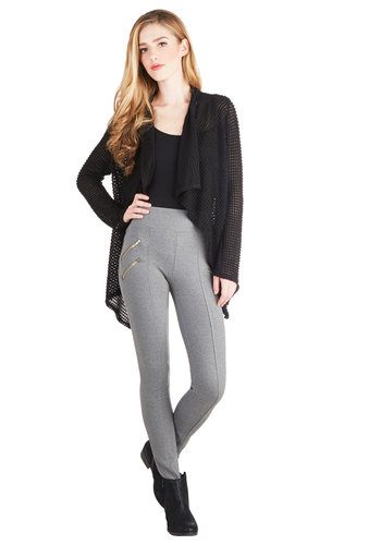 Dressage to Impress Pants in Smoke - Knit, Grey, Solid, Exposed zipper, Girls Night Out, 90s, Urban, High Waist, Skinny, Good, High Rise, Full length, Grey, Non-Denim