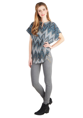 It's an Allusion Top - Woven, Long, Blue, Chevron, Casual, Vintage Inspired, 70s, Short Sleeves, Good, Blue, Short Sleeve