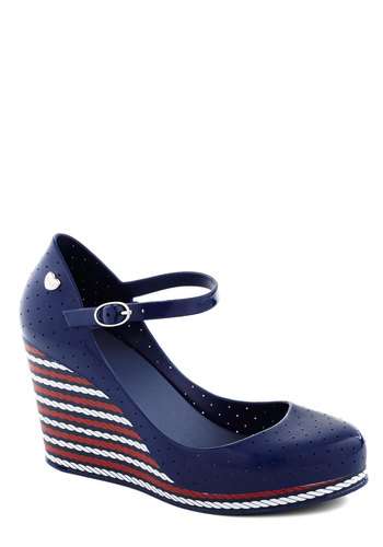Maritime for a Change Wedge in Blue by Mel Shoes - Blue, Red, White, Stripes, Nautical, Better, Platform, Wedge, Mary Jane, Mid, Variation