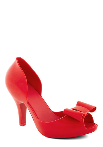 All in Al Fresco Heel in Red by Mel Shoes - Red, Solid, Bows, Prom, Party, Girls Night Out, Daytime Party, High, Better, Platform, Peep Toe, Holiday Party, Valentine's, Variation