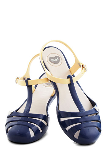 Sweet Me Off My Feet Flat in Navy by Mel Shoes - Blue, Yellow, Casual, Beach/Resort, Nautical, Colorblocking, Flat, Good, Variation