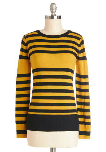 Slats of Moonlight Sweater - Yellow, Stripes, Long Sleeve, Good, Knit, Mid-length, Yellow, Long Sleeve, Black, Casual, Crew