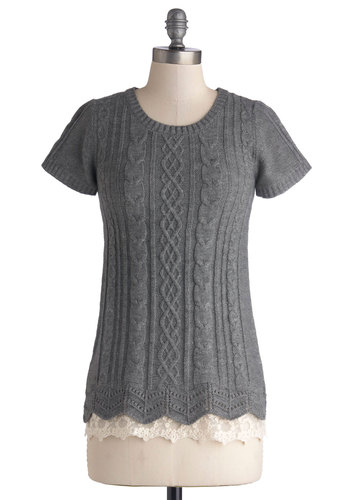 Touch of Something Delicate Top - Grey, Lace, Short Sleeves, Better, Sheer, Knit, Mid-length, Knitted, Grey, Short Sleeve, Solid, Scallops, Work