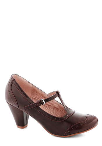 Gallery Opener Heel in Cognac by Chelsea Crew - Mid, Faux Leather, Brown, Solid, Work, Vintage Inspired, 40s, Better, T-Strap