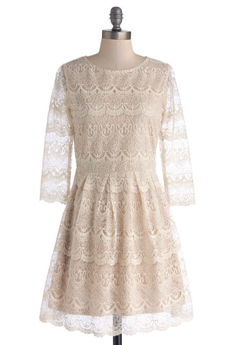 Ali's By and Buyer Dress - Cream, Solid, Daytime Party, A-line, 3/4 Sleeve, Better, Scoop, Sheer, Knit, Mid-length, Lace, Pleats, Lace
