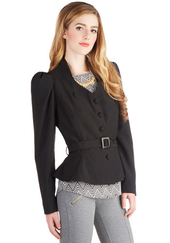 Nine to Live Blazer - Woven, Short, Black, Solid, Buttons, Belted, Work, Film Noir, Vintage Inspired, 40s, Long Sleeve, 1