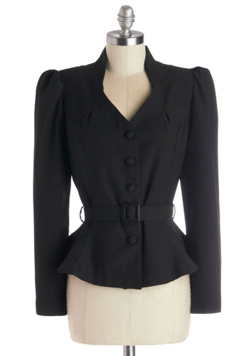 Reporting Lively Blazer - Woven, Short, Black, Solid, Buttons, Belted, Work, Film Noir, Vintage Inspired, 40s, Long Sleeve, 1