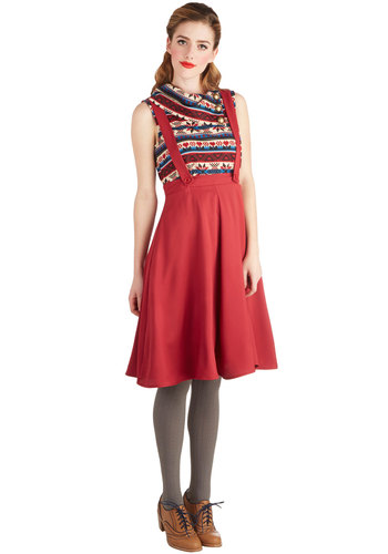 Fine Diner Jumper in Cranberry - Long, Woven, Red, Solid, Rockabilly, Red, Suspender
