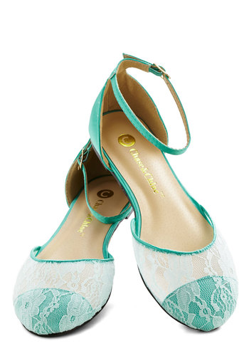 World of Wonderment Flat in Mint - Flat, Satin, Knit, Woven, Sheer, Mint, White, Solid, Lace, Good, Pastel, Lace