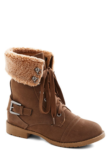 Snow Shower Stroll Boot - Low, Faux Leather, Faux Fur, Tan, Solid, Buckles, Winter, Good, Lace Up