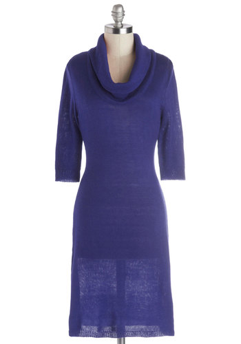 Solid Friend Dress in Blue - Knit, Mid-length, Solid, Casual, Sweater Dress, 3/4 Sleeve, Good, Cowl, Blue, Exclusives, Winter