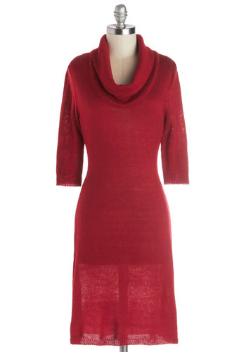Solid Friend Dress in Red - Knit, Mid-length, Red, Solid, Casual, Sweater Dress, 3/4 Sleeve, Good, Exclusives, Cowl, Winter, Show On Featured Sale, Fall