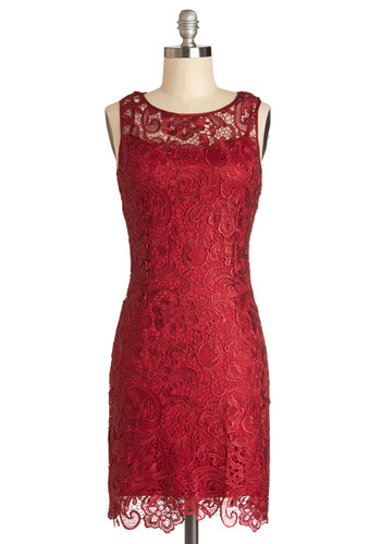 A Sweet Aperitif Dress in Cherry - Red, Lace, Party, Holiday Party, Sheath / Shift, Sleeveless, Good, Scoop, Sheer, Knit, Mid-length