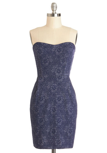 Perennial Party Dress - Knit, Short, Blue, Floral, Pockets, Casual, Sheath / Shift, Strapless, Good, Sweetheart