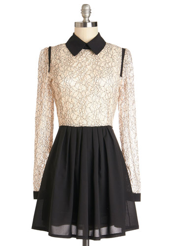 Brand New Lace Dress - Sheer, Satin, Knit, Woven, Short, Tan / Cream, Black, Lace, Party, A-line, Long Sleeve, Better, Collared