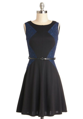 Beauty in Balance Dress - Knit, Mid-length, Black, Blue, Lace, Belted, Party, A-line, Sleeveless, Good