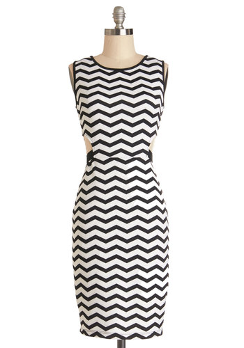 Want to Wave Hello Dress - Knit, Mid-length, Black, White, Chevron, Cutout, Girls Night Out, Bodycon / Bandage, Sleeveless, Good