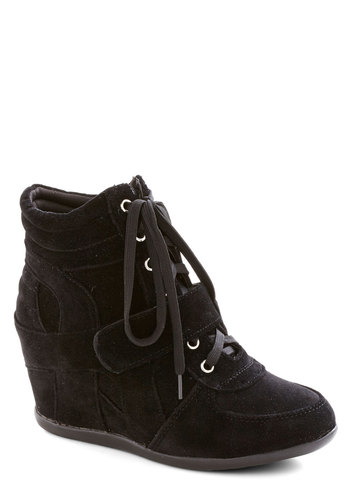 Celebrity Chic Sneaker - Mid, Faux Leather, Wedge, Black, Solid, Urban, Good, Lace Up
