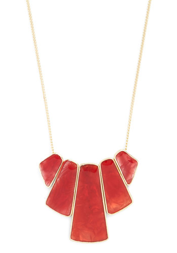 Radiate Style Necklace - Red, Solid, Gold, Good, Variation, Statement