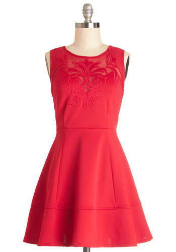 Mingle All the Way Dress - Short, Knit, Red, Solid, Embroidery, Party, A-line, Sleeveless, Good
