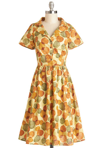 Paint a Picturesque Dress in Leaves by Myrtlewood - Private Label, Cotton, Woven, Yellow, Multi, Buttons, Casual, Shirt Dress, Short Sleeves, Better, Collared, Novelty Print, Vintage Inspired, 50s, Exclusives, Variation, Long
