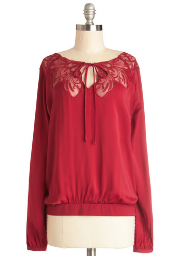 A Chapter by Candlelight Top - Red, Solid, Embroidery, Long Sleeve, Better, Chiffon, Sheer, Woven, Mid-length, Lace, Tie Neck, Boat, Red, Long Sleeve, Casual, Valentine's, Lace