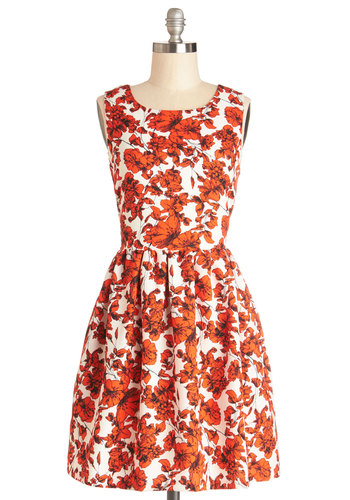Seaside Sketching Dress by Bea & Dot - Private Label, Woven, Orange, White, Pockets, Casual, A-line, Sleeveless, Better, Floral, Exclusives, Full-Size Run, Fall, Mid-length
