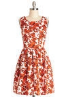 Seaside Sketching Dress by Bea & Dot - Private Label, Woven, Mid-length, Orange, White, Pockets, Casual, A-line, Sleeveless, Better, Floral, Exclusives