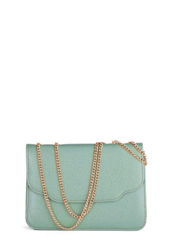 Strategic Style Bag - Mint, Gold, Solid, Chain, Pastel, International Designer, Faux Leather
