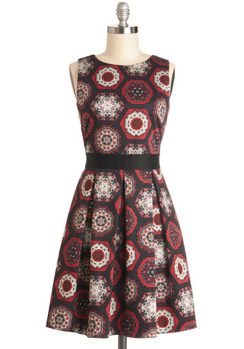 Make the Rounds Dress in Medallions - Cotton, Knit, Woven, Mid-length, Red, Black, White, Print, Lace, Pleats, Party, A-line, Sleeveless, Better, Exposed zipper