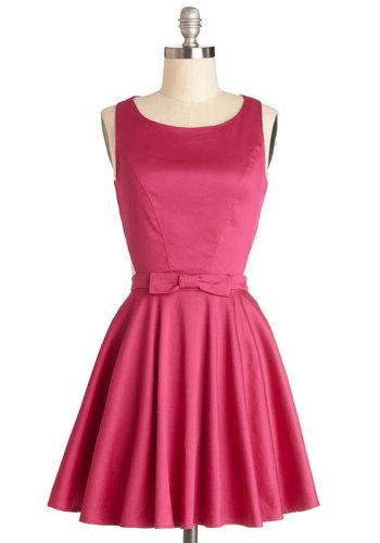 Classic Twist Dress in Magenta - Cotton, Woven, Short, Pink, Solid, Bows, Buttons, Cutout, Party, A-line, Sleeveless, Good, Scoop, Valentine's, Top Rated
