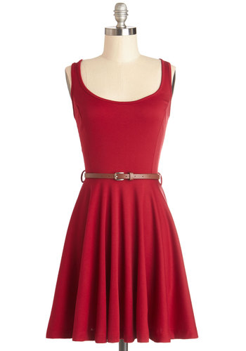 Good Energy Dress in Red - Knit, Short, Red, Solid, Belted, Casual, A-line, Tank top (2 thick straps), Good, Scoop