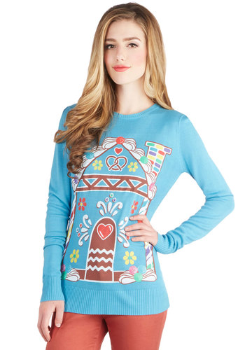 Home Treat Home Sweater by Bea & Dot - Private Label, Knit, Mid-length, Holiday, Blue, Novelty Print, Long Sleeve, Better, Blue, Long Sleeve, Multi, Exclusives