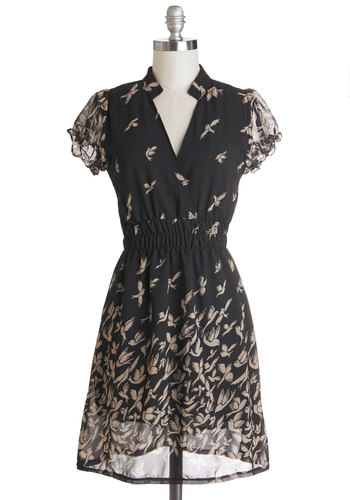 Birds of Play Dress - Chiffon, Sheer, Knit, Woven, Mid-length, Black, Tan / Cream, Print with Animals, Casual, A-line, Cap Sleeves, Better, Critters, Bird, Woodland Creature