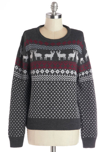Pleasant Exchange Sweater - Knit, Mid-length, Print with Animals, Holiday, Vintage Inspired, Quirky, Long Sleeve, Crew, Long Sleeve, Grey, Better, Grey, Red, White