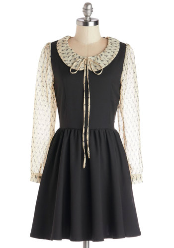 Wildly Winsome Dress - Sheer, Woven, Mid-length, Tan / Cream, Peter Pan Collar, Casual, A-line, Long Sleeve, Better, Collared, Black, Print with Animals