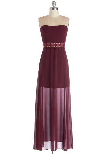 The Vintner's Circle Dress - Solid, Crochet, Cutout, Casual, Maxi, Strapless, Good, Long, Chiffon, Sheer, Woven, Red