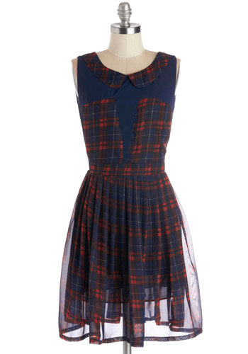 Business Sorority Dress - Plaid, Scholastic/Collegiate, A-line, Sleeveless, Good, Collared, Woven, Mid-length, Red, Blue, Peter Pan Collar, Pleats, Casual