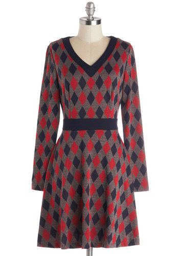 The Great Library Dress - Argyle, Casual, Scholastic/Collegiate, A-line, Long Sleeve, Better, V Neck, Mid-length, Knit, Red, Blue, Grey