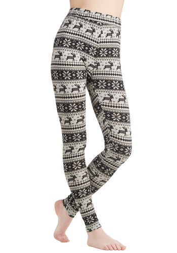 Deer Me Out Leggings in Stone by Ryu - Grey, Casual, Better, Print with Animals, Knit, Novelty Print, Vintage Inspired, 90s, Critters, Skinny, High Rise, Ankle, Grey, Winter, Variation, Gifts Sale