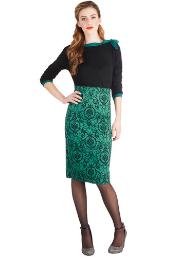 Waiting for This Moment Skirt - Pencil, Good, Long, Knit, Print, Party, Vintage Inspired, High Waist, Green, Green, Black, 50s, Gifts Sale