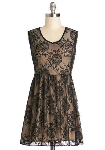 Frappe Break Dress - Black, Cutout, Lace, Party, Vintage Inspired, A-line, Sleeveless, Good, V Neck, Sheer, Knit, Short, Tan / Cream, Gifts Sale, Lace, Homecoming