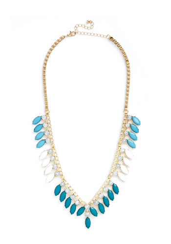Seaside Gala Necklace - White, Solid, Tiered, Statement, Gold, Blue, Rhinestones