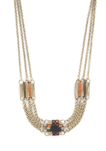 Ornate Ornithologist Necklace - Multi, Solid, Chain, Gold, Good, Cotton